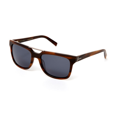 Men's Nathanael Rectangle Polarized Sunglasses // Brown Horn