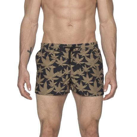 "2"" Barcelona Dry Cloth Swim Shorts // Cannabis Black (XS)"