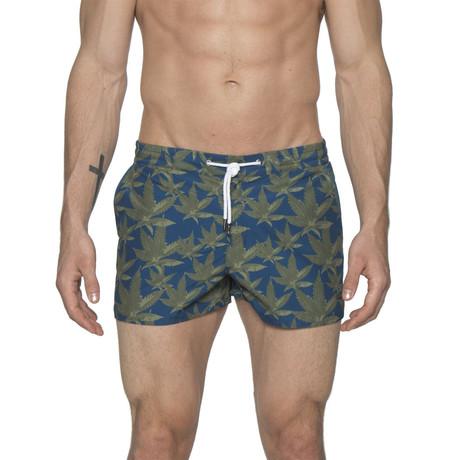 "2"" Barcelona Dry Cloth Swim Shorts // Cannabis Blue (XS)"