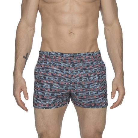 "2"" Print Angeleno Stretch Swim Shorts // Pineapple Black (28)"
