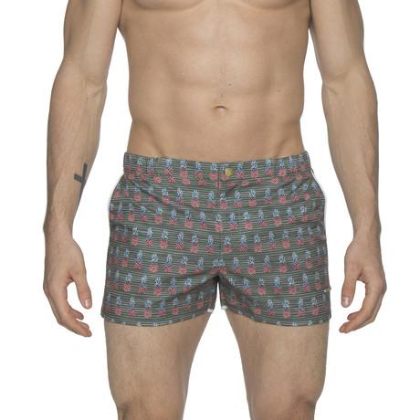 "2"" Print Angeleno Stretch Swim Shorts // Pineapple Green (28)"