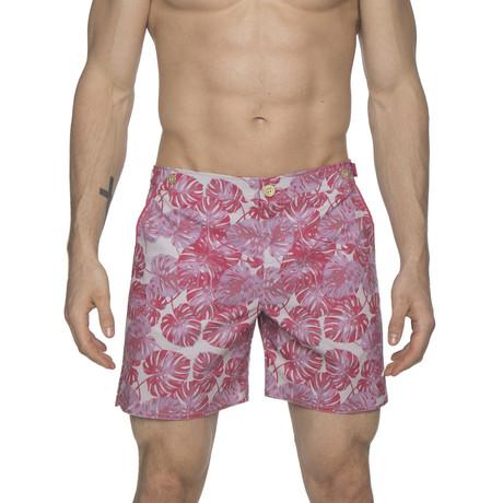 "6"" Catalonia Stretch Swim Short // Pink Monstera Leaf (28)"