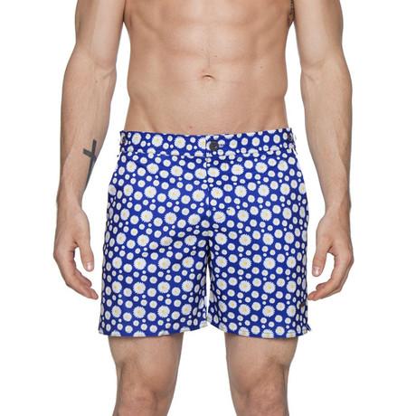 """6"""" Catalonia Stretch Print Swim Shorts // Small Daisy Navy (28)"""