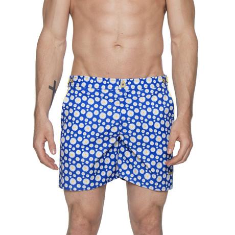 "6"" Catalonia Stretch Print Swim Shorts // Small Daisy Royal (28)"