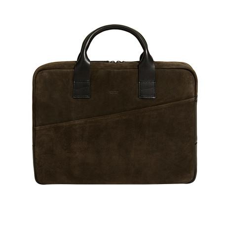 Suede Briefcase // Brown