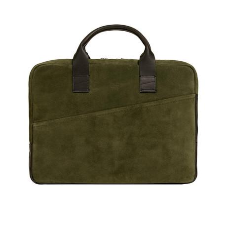 Suede Briefcase // Green