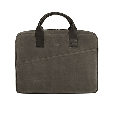 Suede Briefcase // Gray