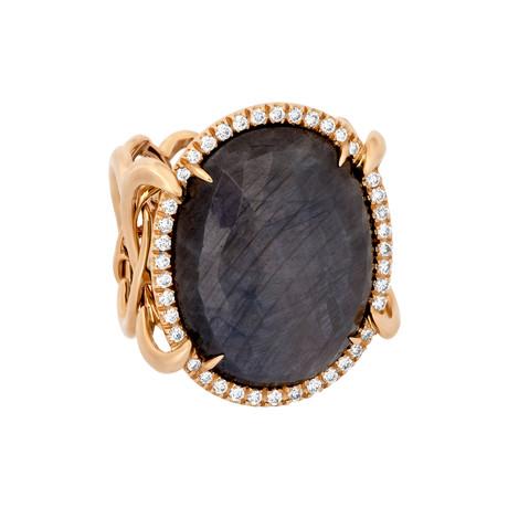 Vintage Giovanni Ferraris 18k Rose Gold Diamond + Grey Sapphire Ring // Ring Size: 6.5
