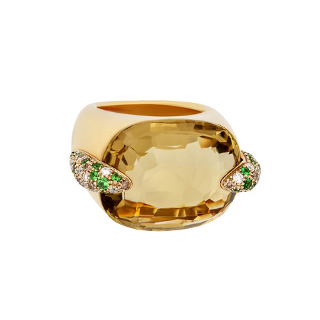Vintage Pomellato Pin Up 18k Yellow Gold Diamond Tsavorite Lemon Citrine Ring // Ring Size: 6.5