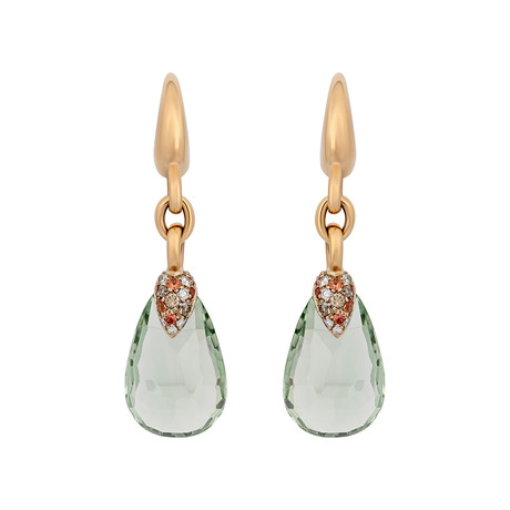 Vintage Pomellato Pin Up 18k Yellow Gold Diamond Prasiolite Drop Earrings