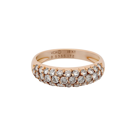 Vintage Van Cleef & Arpels 18k Rose Gold Pave Diamond Ring // Ring Size: 5.75