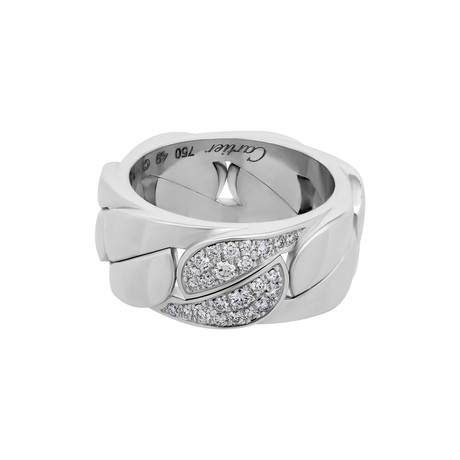 Vintage Cartier 18k White Gold La Dona Diamond Ring // Ring Size: 4.75