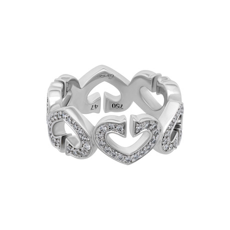 Vintage Cartier 18k White Gold Diamond C Heart Ring // Ring Size: 4