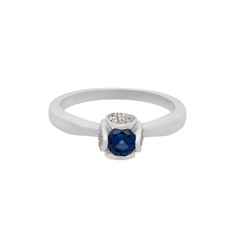 Vintage Piaget 18k White Gold Diamond + Sapphire Ring // Ring Size: 10.5