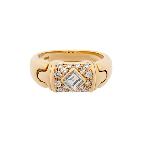 Vintage Bulgari 18k Yellow Gold Diamond Ring // Ring Size: 5.25