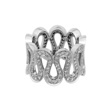 Vintage Boucheron 18k White Gold Wavy Diamond Ring // Ring Size: 5