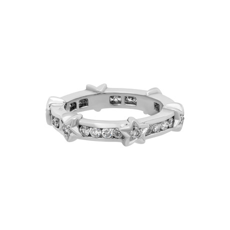 Vintage Chanel 18k White Gold Diamond Star Eternity Band // Ring Size: 5