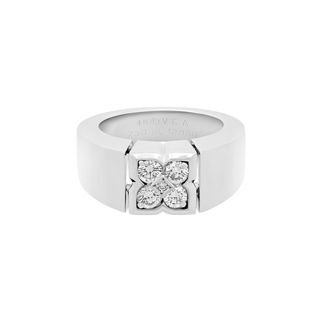 Vintage Van Cleef & Arpels 18k White Gold Diamond Ring // Ring Size: 4.5