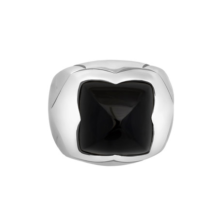Vintage Bulgari 18k White Gold Onyx Pyramid Ring // Ring Size: 4.5