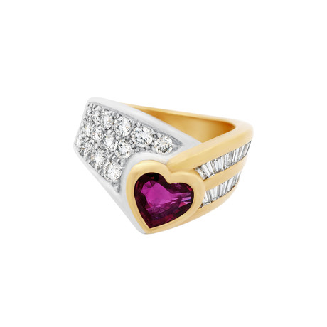 Vintage Damiani 18k Two-Tone Gold Diamond + Ruby Heart Ring // Ring Size: 6.75