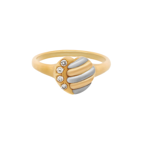 Vintage Dior 18k Two-Tone Gold Diamond Heart Ring // Ring Size: 6