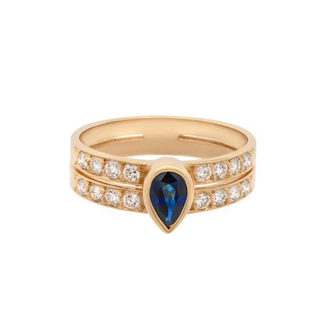 Vintage Cartier 18k Yellow Gold Sapphire + Diamond Ring // Ring Size: 6