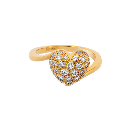 Vintage Cartier 18k Yellow Gold Pave Diamond Heart Ring (Ring Size: 4)