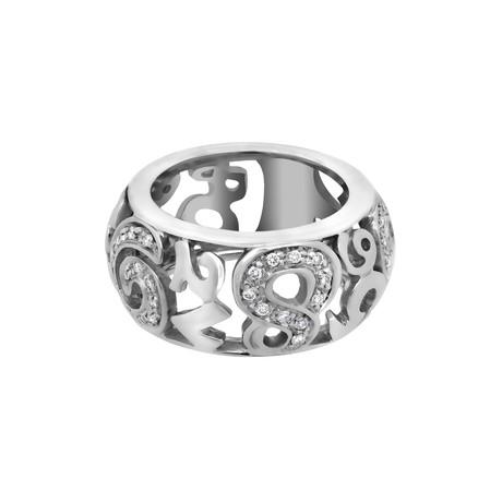 Vintage Franck Muller 18k White Gold Talisman Diamond Ring // Ring Size: 4.5