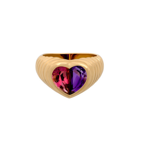 Vintage Bulgari 18k Yellow Gold Amethyst + Tourmaline Heart Ring // Ring Size: 5.5
