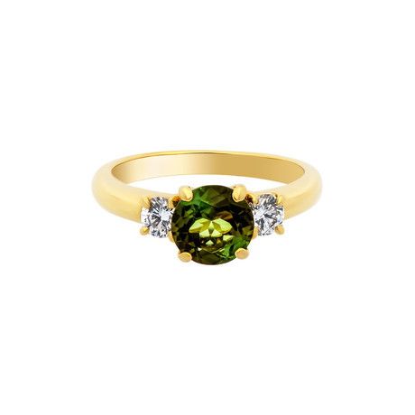 Vintage Tiffany & Co. 18k Yellow Gold Green Tourmaline + Diamond Ring // Ring Size: 6