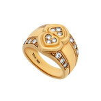Vintage Dior 18k Yellow Gold Double Heart Diamond Ring // Ring Size: 6.5