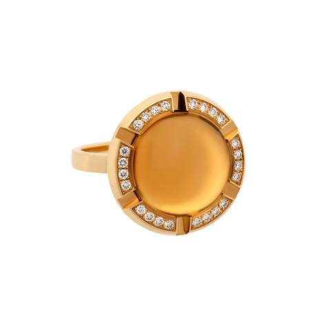 Vintage Chaumet 18k Yellow Gold Citrine + Diamond Ring // Ring Size: 6.25
