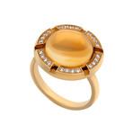 Vintage Chaumet 18k Yellow Gold Citrine + Diamond Ring // Ring Size: 6.25