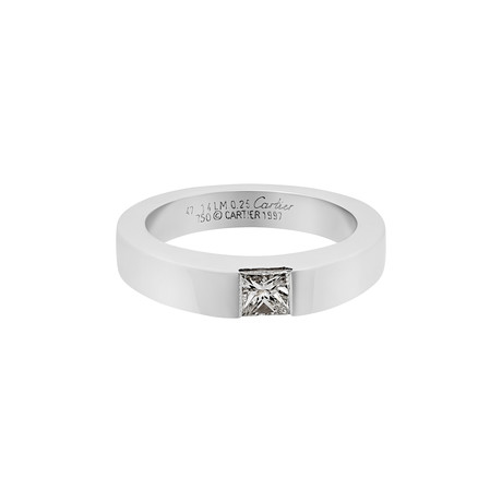 Vintage Cartier 18k White Gold Diamond Ring // Ring Size: 4