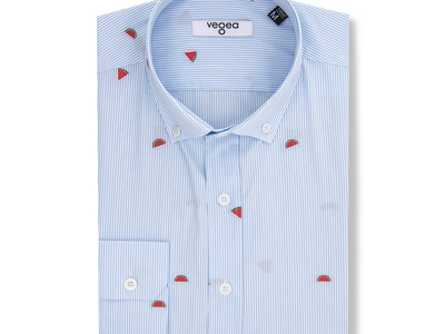 Photo of Vegea Essential Button Down Shirts Watermelons Slim Fit Cotton Shirt // Blue (S) by Touch Of Modern