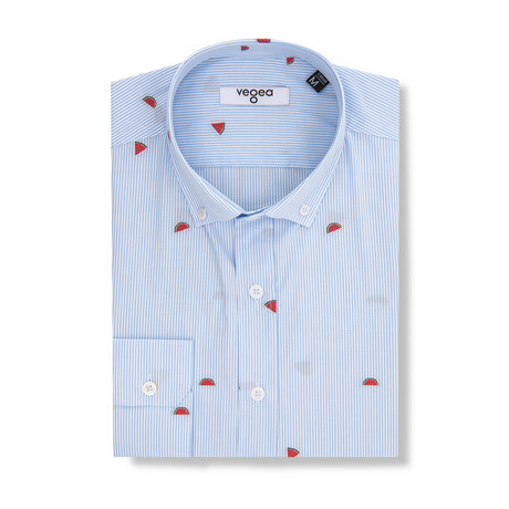 Watermelons Slim Fit Cotton Shirt // Blue (S)