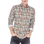 Amadeus Palm Long-Sleeve Button Up // Brown (L)