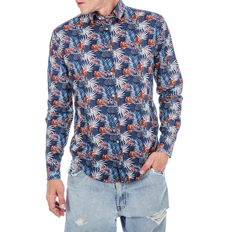 Frederic Palm Long-Sleeve Button Up // Blue (S)