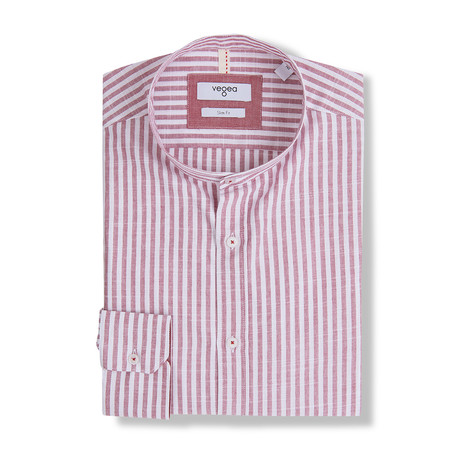 Jovian Stripe Shirt Stand Up Collar // Red (XS)