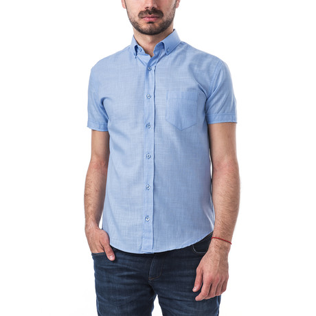 Ravel Short-Sleeve Button Down // Blue (S)