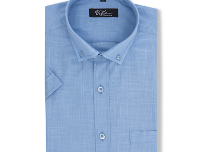 Photo of Vegea Essential Button Down Shirts Ravel Short-sleeve Button Down // Blue (M) by Touch Of Modern