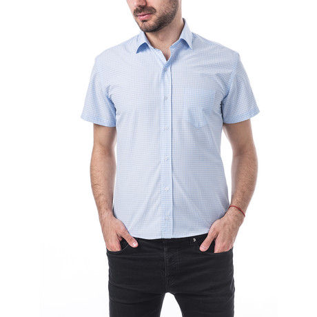 Faure Short-Sleeve Button Up // Blue (S)