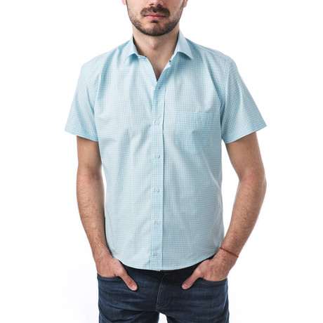 Elgar Short-Sleeve Button Up // Turquoise (S)