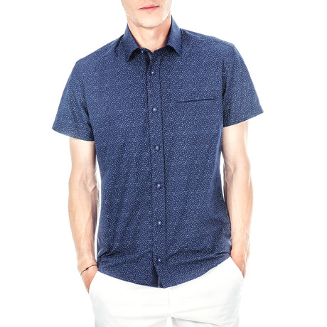 Handel Short-Sleeve Button Up // Blue (S)