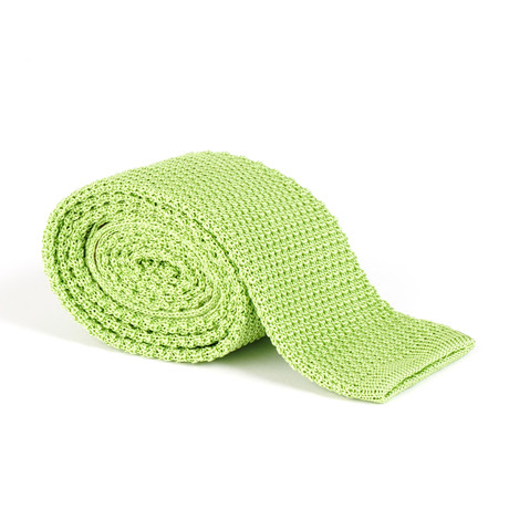Tricot Knitted Tie // Green Apple