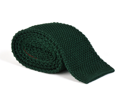 Photo of Fabliot by Le Chic Français Silk, Wood, & Feather Ties Tricot Knitted Tie // Bottle Green by Touch Of Modern