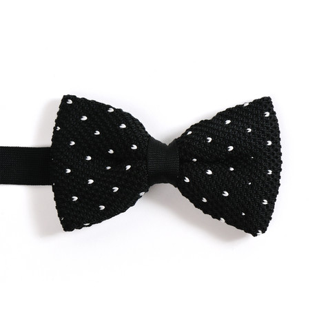 Silk Bow Tie // Black With Dots