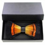 Duck Feather Bow Tie // Black + Orange