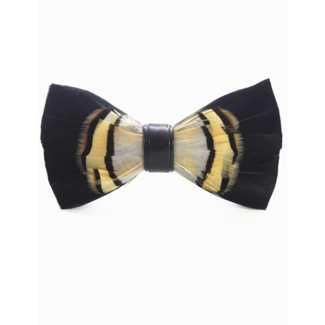 Duck Feather Bow Tie V2 // Midnight + White