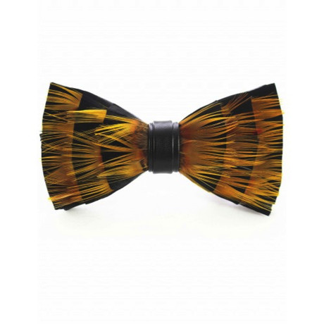 Duck Feather Bow Tie V4 // Black + Yellow